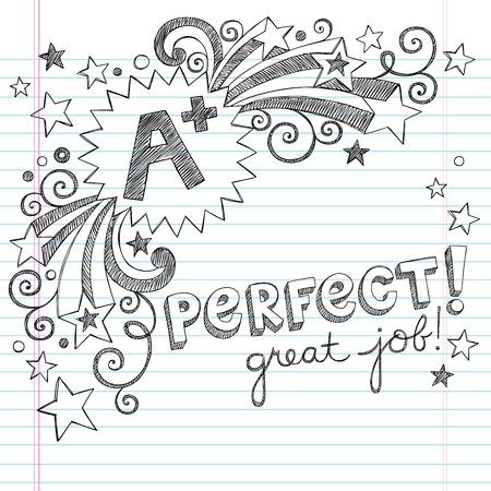 test results: Uno studente e un ottimo gradi Back to School Sketchy Notebook Doodles con Lettering, Shooting Stars, e Swirls-disegnati a mano illustrazione Elementi di disegno sul background paper foderato sketchbook