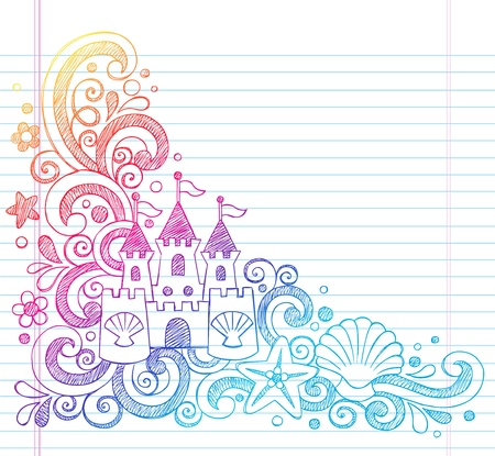 Sandcastle Tropical Beach Summer Vacation Sketchy Notebook Doodles- Hand Drawn  Illustration on Lined Sketchbook Paper Background Vector