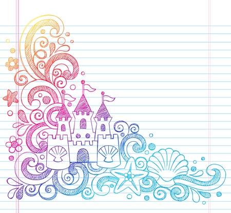 Zandkasteel Tropical Beach Summer Vacation schetsmatig notebook doodles-Hand Drawn illustratie op bekleed Sketchbook papier achtergrond