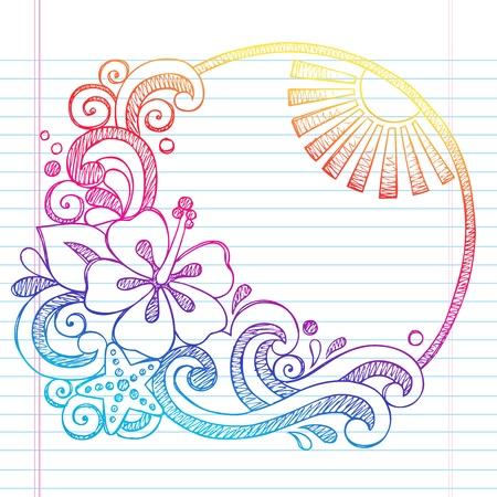 ハイビスカス花トロピカル ビーチ夏休み大ざっぱなノートの落書き-手書きイラスト並ぶスケッチ ブック [背景に用紙を
