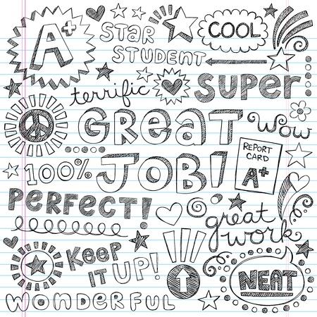 alabanza: Gran trabajo estupendo Estudiantes Alabanza Frases Back to School Notebook Sketchy Doodles-dibujado a mano ilustración sobre fondo de papel rayado Sketchbook