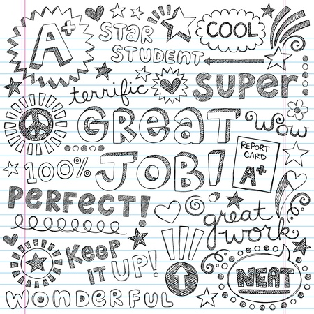 Great Job Super Student Praise Phrases Back to School Sketchy Notebook Doodles- Hand-Drawn Illustration Design Elements on Lined Sketchbook Paper Background Vector