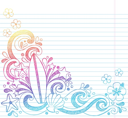 Surfboard Tropical Beach Summer Vacation Sketchy Notebook Doodles- Hand Drawn Illustration on Lined Sketchbook Paper Background