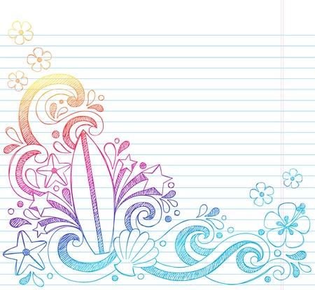 sketchy illustration: Surfboard Tropical Beach Summer Vacation Sketchy Notebook Doodles- Hand Drawn Illustration on Lined Sketchbook Paper Background