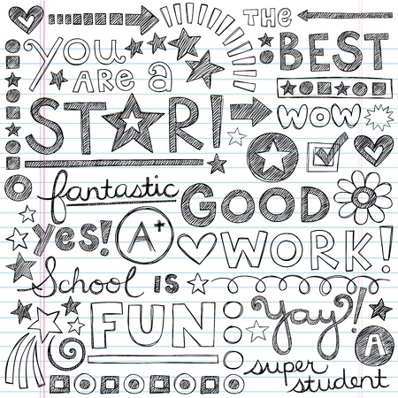 Great Work Super Praise Phrases Back to School Sketchy Notebook Doodles- Hand-Drawn Illustration Design Elements on Lined Sketchbook Paper Background Vector