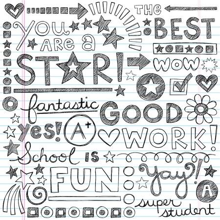 phrases: Trabajo grandes elogios Frases S�per Back to School Notebook Sketchy Doodles-dibujado a mano ilustraci�n sobre fondo de papel rayado Sketchbook Vectores