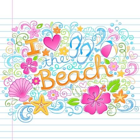 私は、ビーチ熱帯夏バケーション大ざっぱなノートいたずら書きハイビスカスの花、フリップフ ロップ、および海のシェル-手イラスト背景に並ぶス  イラスト・ベクター素材