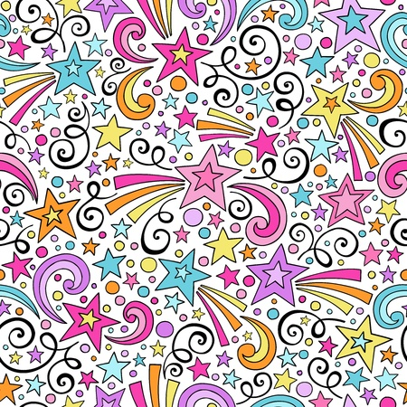 Stars and Swirls Seamless Pattern- Groovy Notebook Doodles Hand-Drawn Vector Illustration Background Vector