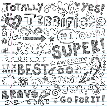 Super Terrific Student Praise Hand Lettering Phrases Back to School Sketchy Notebook Doodles- Hand-Drawn Illustration Design Elements on Lined Sketchbook Paper Background Vectores