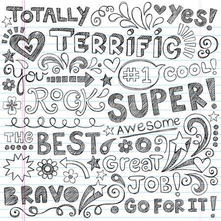 test results: Super Terrific Student Lode a mano le frasi della Back to School Sketchy Notebook Doodles-disegnati a mano illustrazione Elementi di disegno sul background paper foderato sketchbook