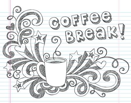 レタリング、撮影星、コーヒー ティー カップ手描きイラスト デザイン素材が並ぶスケッチ ブック [背景に用紙をいたずら書き学校大ざっぱなノー