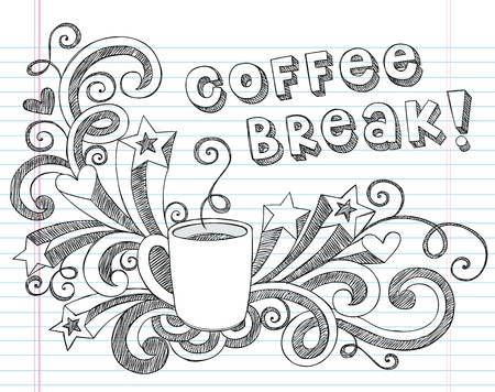 Coffee Mug Back to School Sketchy Notebook Doodles with Lettering, Shooting Stars, and Coffee   Tea Cup- Hand-Drawn Illustration Design Elements on Lined Sketchbook Paper Background Vectores