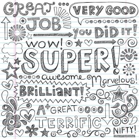 素晴らしい仕事スーパー学生称賛手レタリング学校大ざっぱなノートいたずら書き手描きイラスト デザイン素材が並ぶスケッチ ブック [背景に用紙  イラスト・ベクター素材