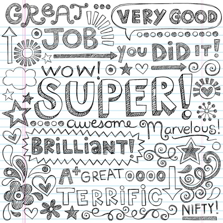 Great Job Super Student Praise Hand Lettering Phrases Back to School Sketchy Notebook Doodles- Hand-Drawn Illustration Design Elements on Lined Sketchbook Paper Background Vectores