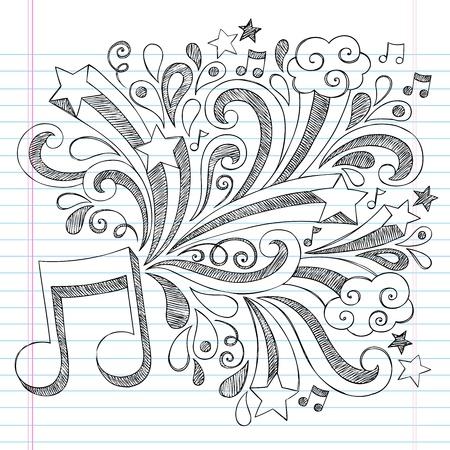 音符とまんじ手描きイラスト デザイン素材が並ぶスケッチ ブック [背景に用紙をいたずら書き学校大ざっぱなノートに戻る音楽ノート  イラスト・ベクター素材