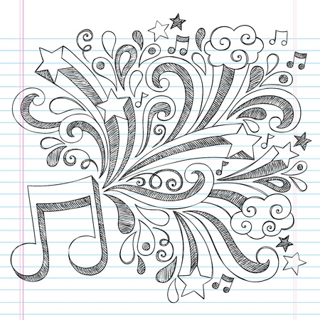 Music Note Back to School Sketchy Notebook Doodles with Music Notes and Swirls- Hand-Drawn Illustration Design Elements on Lined Sketchbook Paper Background Vector
