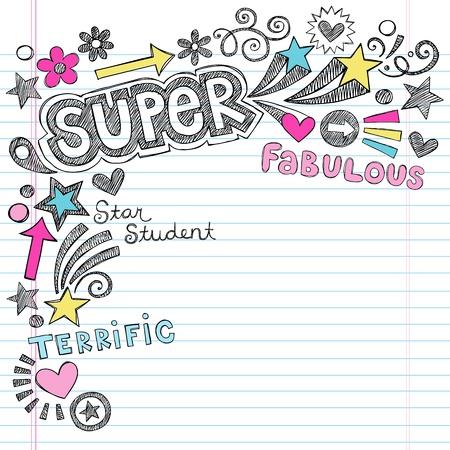 Super Student Back to School Notebook Doodles- Sketchy Hand-Drawn Illustration Design Elements on Lined Sketchbook Paper Background