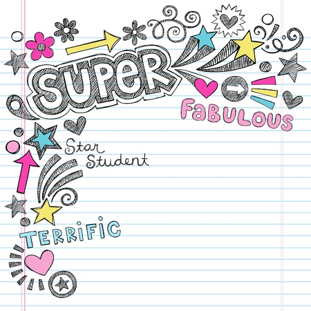 Super Student Back to School Notebook Doodles- Sketchy Hand-Drawn Illustration Design Elements on Lined Sketchbook Paper Background