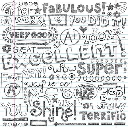 Super Excellent Student Lof Woorden van Aanmoediging Vector Illustratie
