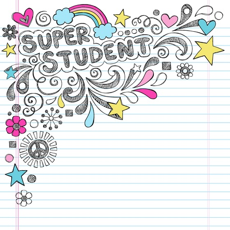hand lettering: Super Student Back to School Rainbow Notebook Doodles Illustration