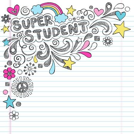 Super Student Terug naar School Rainbow Notebook Doodles
