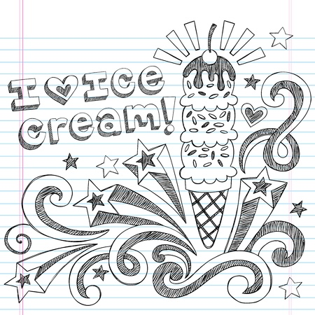 Ice Cream Cone Sketchy Back to School Doodles Vector Illustration Illustration