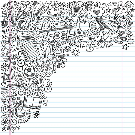back to school: Inky Back to School Notebook Doodles with Apple, Soccer Ball, Art Supplies and Book- Hand-Drawn Vector Illustration Design Elements on Lined Sketchbook Paper Background