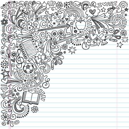 utiles escolares: Inky Volver a la escuela port�til garabatos con Apple, Pelota de f�tbol, ??art�culos de arte y libros a mano del vector ilustraci�n sobre fondo de papel rayado Sketchbook Vectores