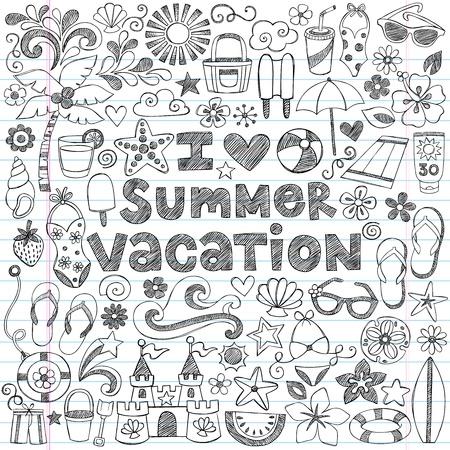 in the summer: Amo las vacaciones de verano Tropical dibujados a mano Vectores