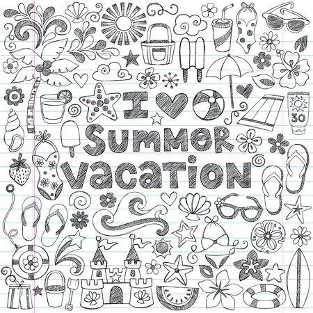 I Love Summer Vacation Tropical Hand-Drawn  Vector