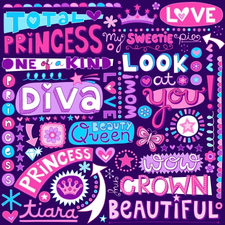Princess Fairy Tale Diva Word Doodles Lettering  Illustration Vector