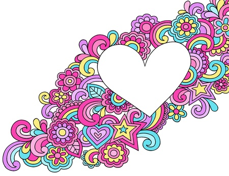 flower power: Flower Power Peace   Love Groovy Psychedelic Notebook Doodles Heart Frame Vector Illustration