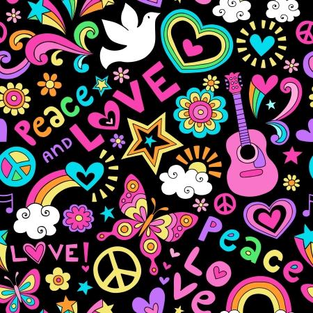 平和、愛、そして音楽のシームレスなパターン グルーヴィーなノートの落書きデザイン手描きイラスト背景