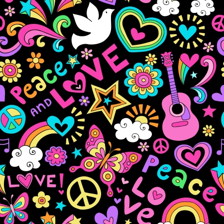 Peace, Love, and Music Seamless Pattern Groovy Notebook Doodle Design- Hand-Drawn Illustration Background Vector