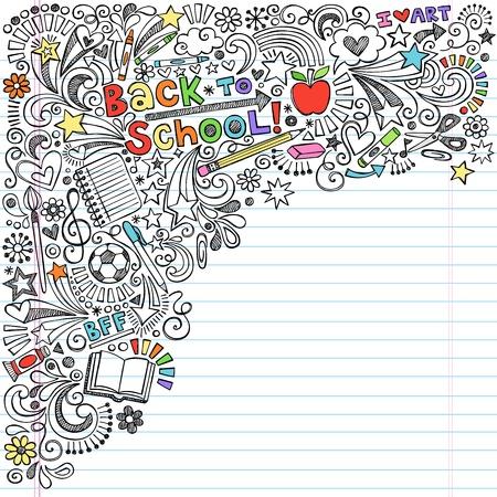 Atramentowy Powrót do School Notebook Doodles z Apple, Piłka, Art Supplies i Książki