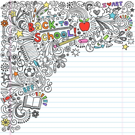 Inky Back to School Notebook Doodles with Apple, Soccer Ball, Art Supplies and Book