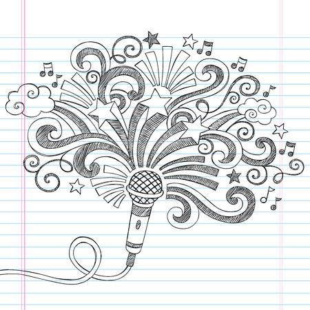 Micrófono Música regreso a la escuela Sketchy Notebook Doodles ilustración