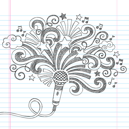 Microphone Music Back to School Sketchy Notebook Doodles Illustration  Vettoriali
