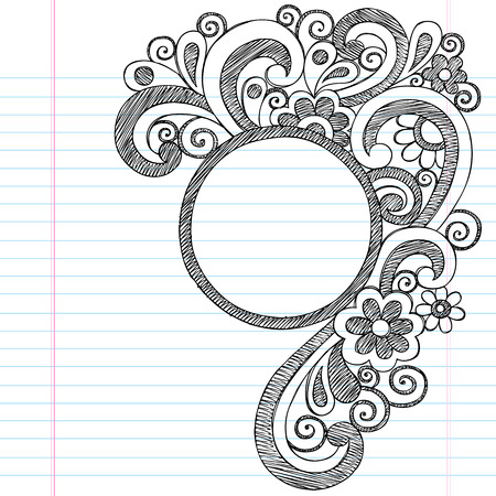 Circle Picture Frame Border Back to School Sketchy Notebook Doodles- Vector Illustration Design on Lined Sketchbook Paper Background Vector