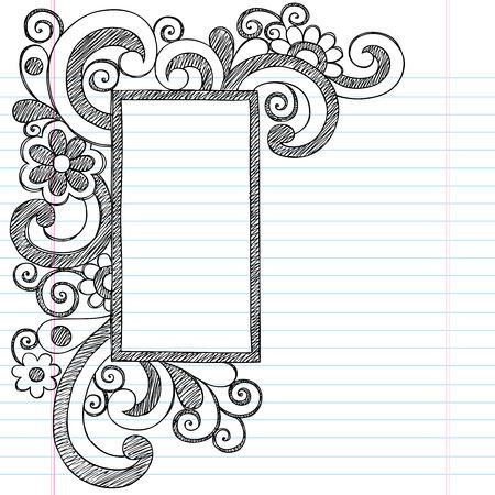 四角形の図枠の罫線学校大ざっぱなノートに戻るいたずら書き