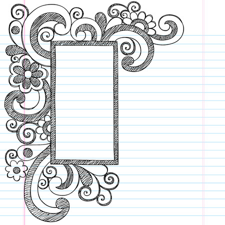 Rectangle Picture Frame Border Back to School Sketchy Notebook Doodles Vettoriali