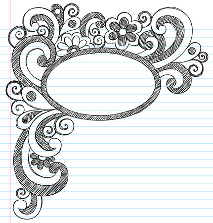 Oval Picture Frame Border Back to School Sketchy Notebook Doodles Vector