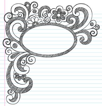 Oval Picture Frame Border Back to School Sketchy Notebook Doodles