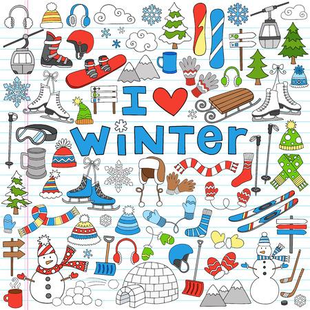 学校のノートに戻る冬の楽しみのいたずら書き  イラスト・ベクター素材