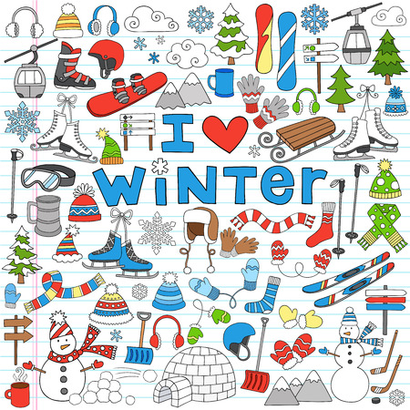 winter sport: Winter Fun Back to School Notebook Doodles Illustration