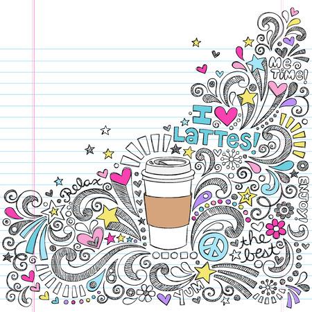 学校の大ざっぱなノートの落書きに戻るコーヒー カフェラテ ホット ドリンク  イラスト・ベクター素材