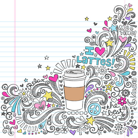 Coffee Latte Hot Drink Back to School Sketchy Notebook Doodles Vettoriali