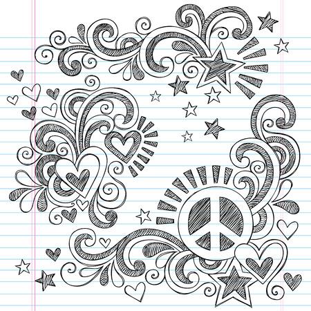 平和の記号、心、シューティング スターとまんじ手描きベクトル イラスト デザイン要素背景に並ぶスケッチ用紙にいたずら書き学校大ざっぱなノ