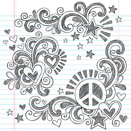 Peace and Love Back to School Sketchy Notebook Doodles with Peace Sign, Heart, Shooting Star, and  Swirls- Hand-Drawn Vector Illustration Design Elements on Lined Sketchbook Paper Background Vettoriali
