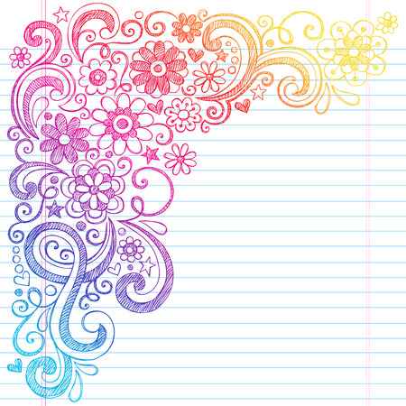 Flower Power Back to School Sketchy Notebook Doodles with Flower Blossoms, Vines, and Swirls- Hand-Drawn Vector Illustration Design Elements on Lined Sketchbook Paper Background Vettoriali